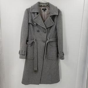 BEBE gray wool rabbit fur blend trench coat women